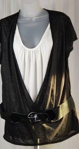Tops - NEW PING Black and White Blouse With Artached Belt